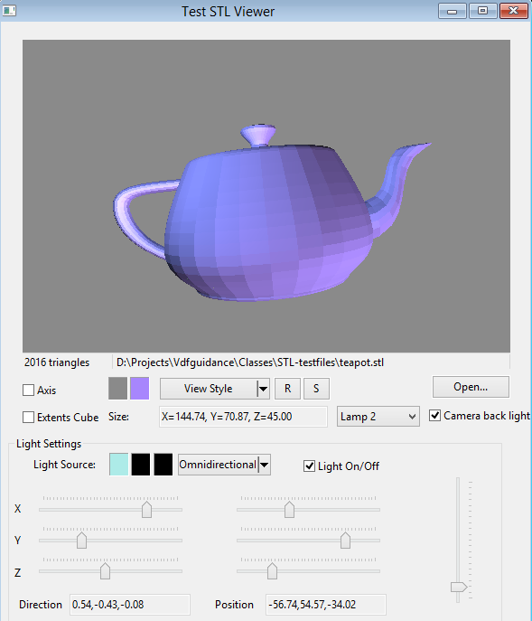 STLViewer screenshot 3D teapot